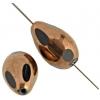 "Glass Bead Drop 10x16mm 8""str  Jet/Bronze"